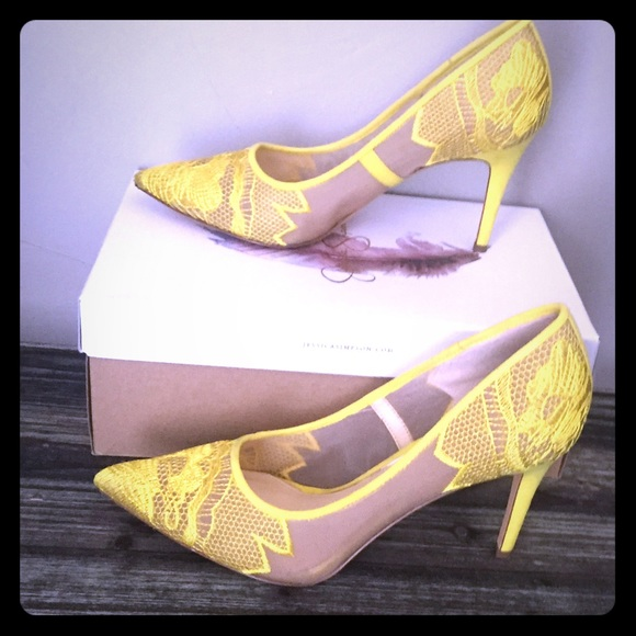 650fe53354b Jessica Simpson Yellow Lace Pumps